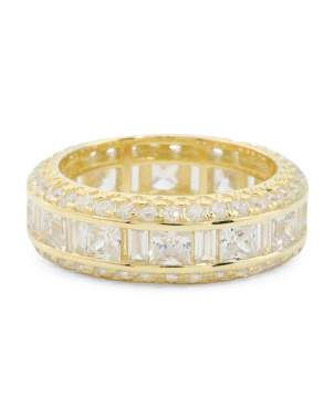14k Gold Plated Sterling Silver Cz Eternity Ring
