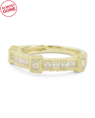 14k Gold Plated Sterling Silver Cz Ring