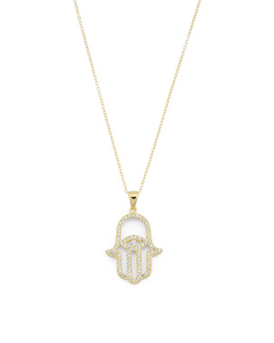 14k Gold Plated Sterling Silver Hamsa Cz Necklace