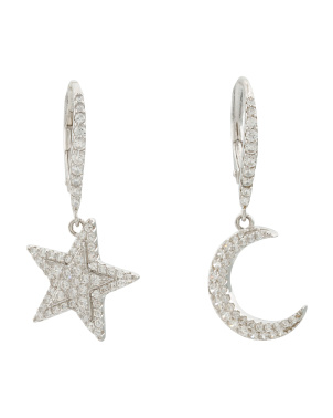 Sterling Silver Cz Moon And Star Mismatched Earrings