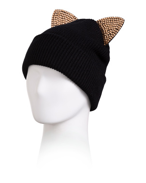 Knit Beanie With Rhinestone Cat Ears