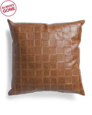 Made In Usa 22x22 Leather Look Linen Back Pillow