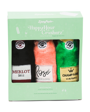 Set Of 3 Happy Hour Crusherz Dog Toys