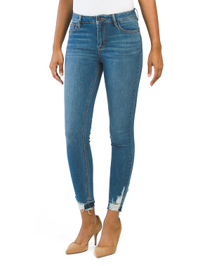 High Rise Skinny Jeans With Destructed Hem