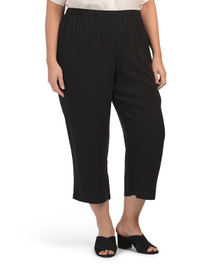 Plus Silk Georgette Crepe Straight Crop Pants