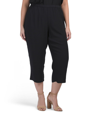 Plus Silk Georgette Crepe Straight Cropped Pants