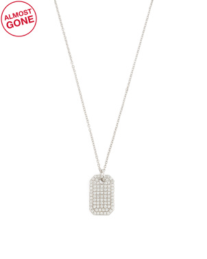 14k Gold And Diamond Dogtag Necklace