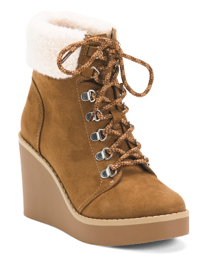 Lace Up Wedge Cozy Booties