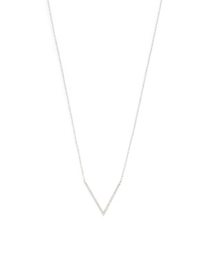 14k White Gold And Diamond Chevron Necklace