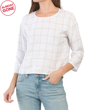 Petite Organic Linen Jewel Neck Top
