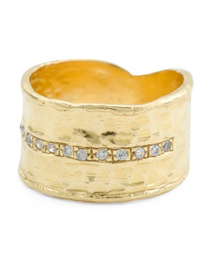 Made In Israel 14k Gold Plated Sterling Silver Cz Band Ring
