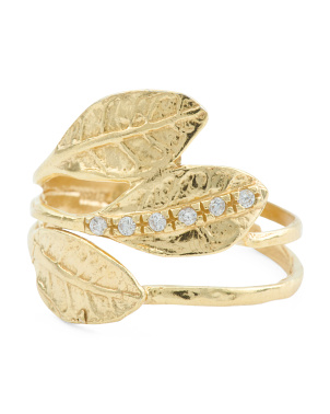 Made In Israel 14k Gold Plated Sterling Silver 3 Leaf Ring