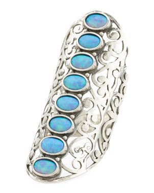 Made In Israel Sterling Silver Opal 8 Stone Knuckle Ring