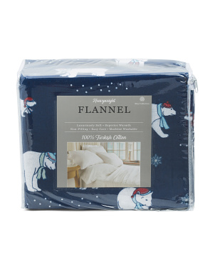 Polar Bears Turkish Flannel Sheet Set