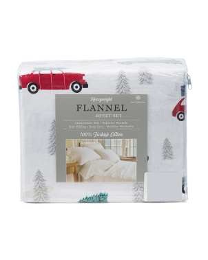 Trees & Trucks Turkish Flannel Sheet Set