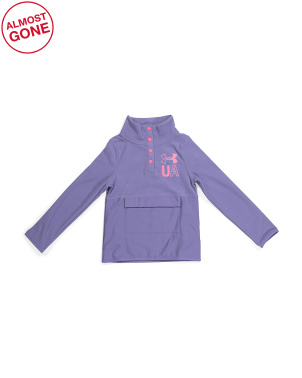 Girls Half Snap Button Front Pullover Jacket