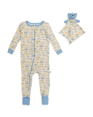 Infant Boy Car Print Coveralls