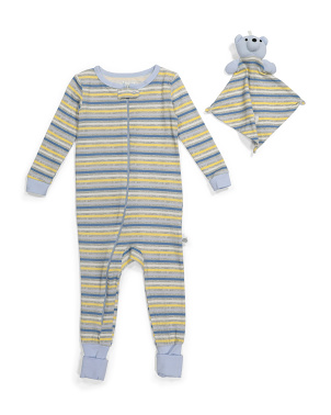 Infant Boys Striped Coveralls