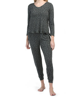 Leopard Burn Out Jade V-neck Top And Pants Lounge Set