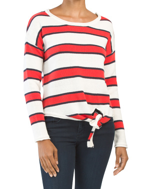 Juniors Striped Pullover Sweater