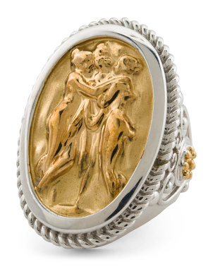 Made In Italy 18k And Sterling Silver Charites Cameo Ring