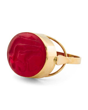 Made In Italy 18k Gold Chevalier Red Intaglio Ring