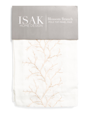 38x84 Set Of 2 Blossom Branch Embroidered Semi Sheer Curtains