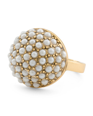 Gold Plated Pearl Statement Ring