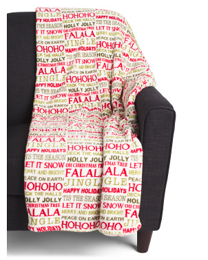 Brinley Christmas Words Loft Fleece Throw