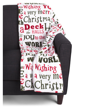 Christmas Words Printed Loft Fleece Decorative Throw