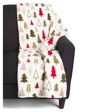Pine Trees Loft Fleece Decorative Throw