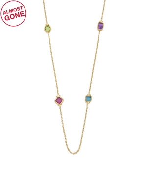 14k Gold Multi Gemstone Station Necklace