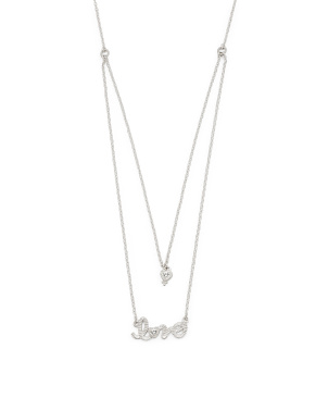 Sterling Silver White Topaz 2 Row Love Necklace