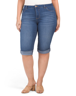 Plus  Rolled Cuff Capri Jeans