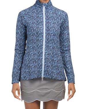 Palm Printed Skirted Full Zip Active Jacket