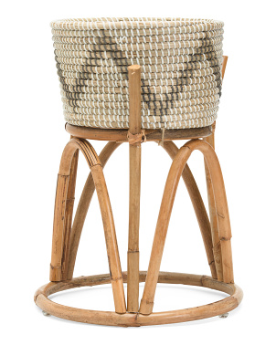 Seagrass Basket With Rattan Stand