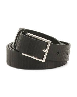 Made In Italy Bask Stripe Leather Belt