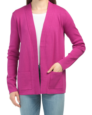 Rib Trim Open Front Cardigan