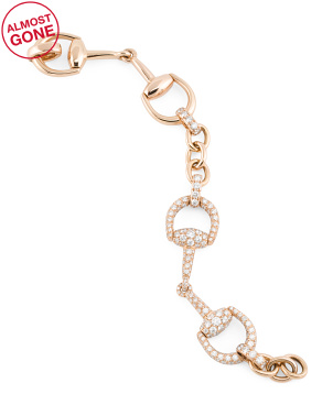 Made In Italy 18k Rose Gold Diamond Horsebit Linked Bracelet