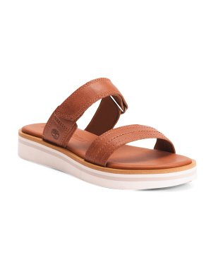 Leather Comfort Two Band Slide On Sandals