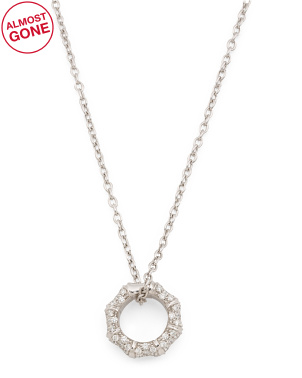 Made In Italy 18k White Gold And Diamond Bamboo Necklace