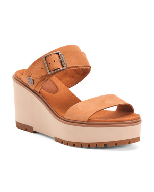 Comfort 2 Band Leather Wedge Sandals