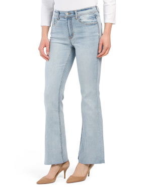 High Rise Flare Leg Jeans With Cut Off Hem