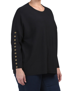 Plus Long Sleeve Sweater With Grommets