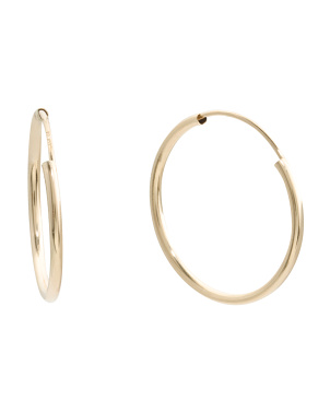 Made In Usa 14k Gold 18mm Endless Hoop Earrings