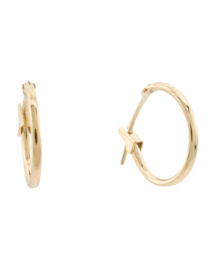Made In Usa 14k Gold 14mm Hoop Earrings