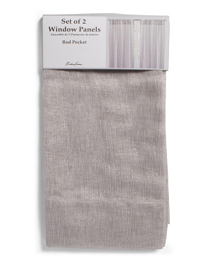 54x96 Set Of 2 Linen Look Semi Sheer Curtains