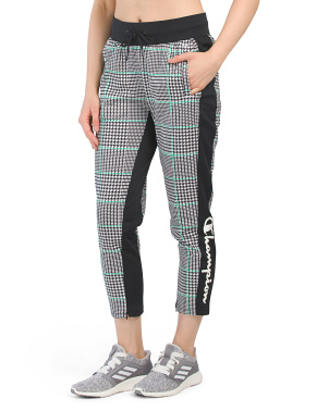 Houndstooth Logo Cropped Track Pants
