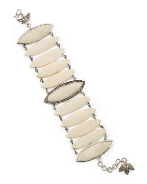 Handcrafted In India Sterling Silver Diamond Bone Bracelet