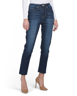 Juniors High Rise Raw Ankle Jeans